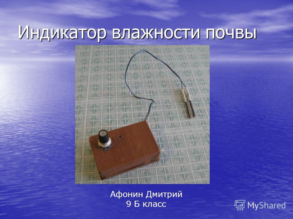 Индикатор влажности почвы Афонин Дмитрий 9 Б класс