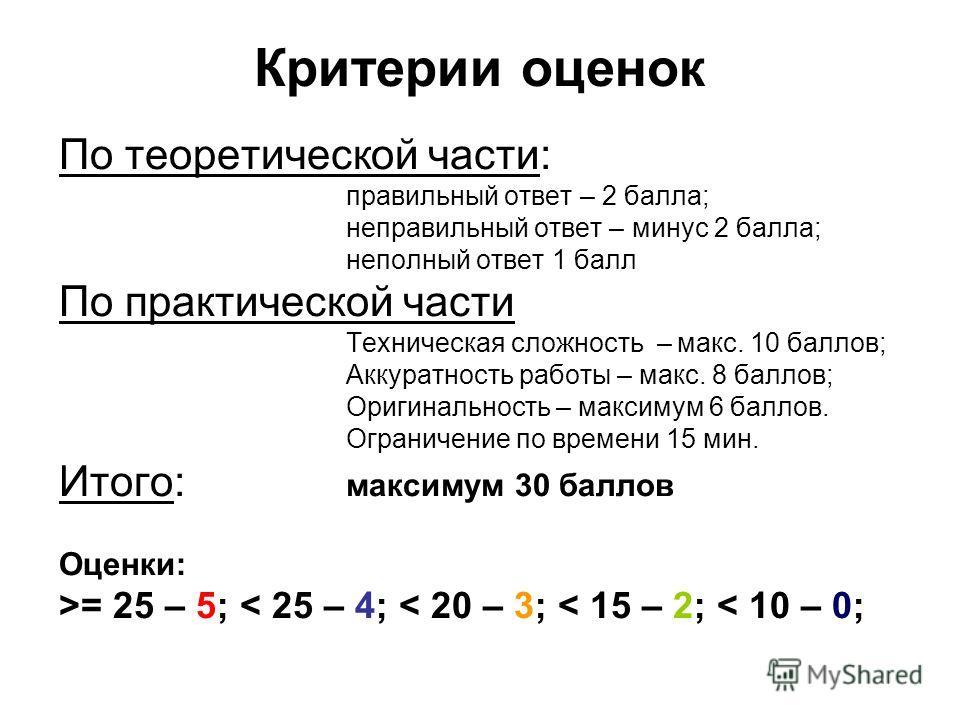 Критерии оценок По теоретической части: правильный ответ – 2 балла; неправильный ответ – минус 2 балла; неполный ответ 1 балл По практической части Техническая сложность – макс. 10 баллов; Аккуратность работы – макс. 8 баллов; Оригинальность – максим
