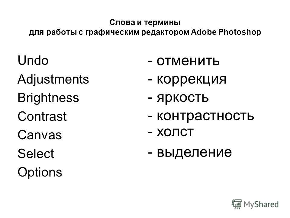 Слова и термины для работы с графическим редактором Adobe Photoshop Undo Adjustments Brightness Contrast Canvas Select Options - отменить - коррекция - яркость - контрастность - холст - выделение