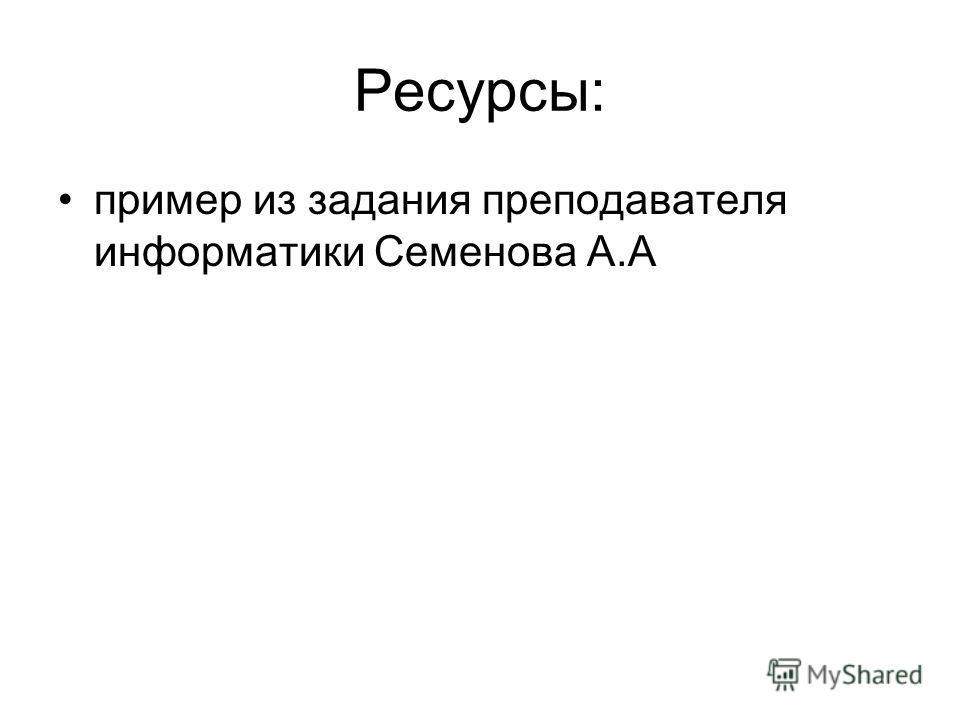 Ресурсы: пример из задания преподавателя информатики Семенова А.А