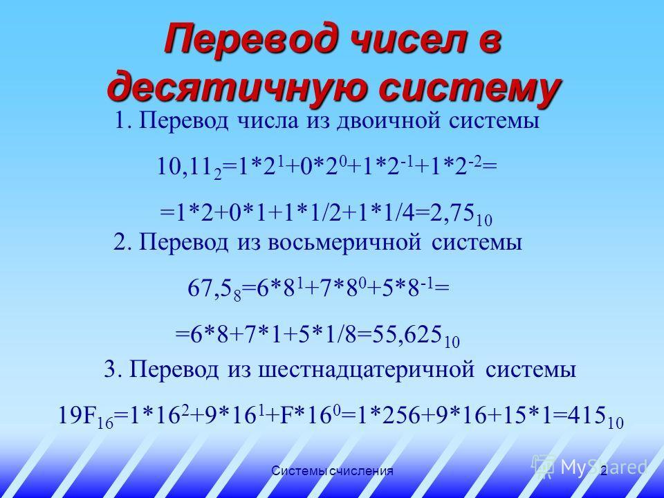 Системы счисления1 Правила перевода чисел из одной позиционной системы счисления в другую Урок 4