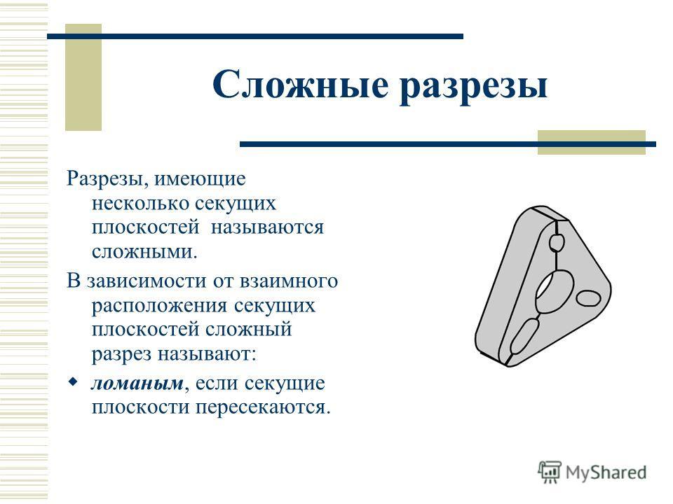 Сложные разрезы Разрезы, имеющие несколько секущих плоскостей называются сложными. В зависимости от взаимного расположения секущих плоскостей сложный разрез называют: ломаным, если секущие плоскости пересекаются.
