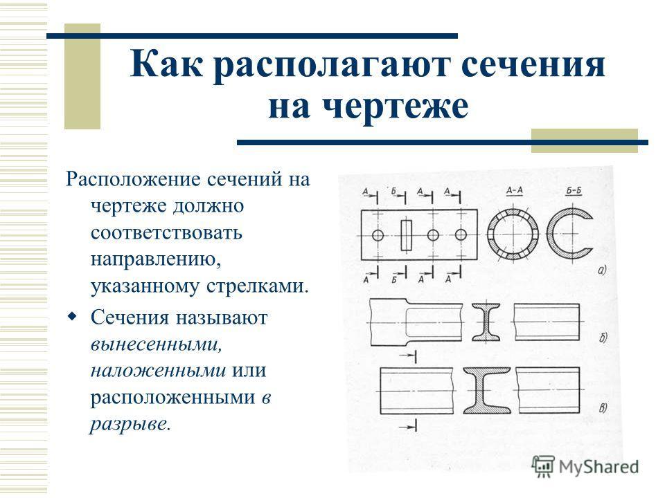 Как располагают сечения на чертеже Расположение сечений на чертеже должно соответствовать направлению, указанному стрелками. Сечения называют вынесенными, наложенными или расположенными в разрыве.