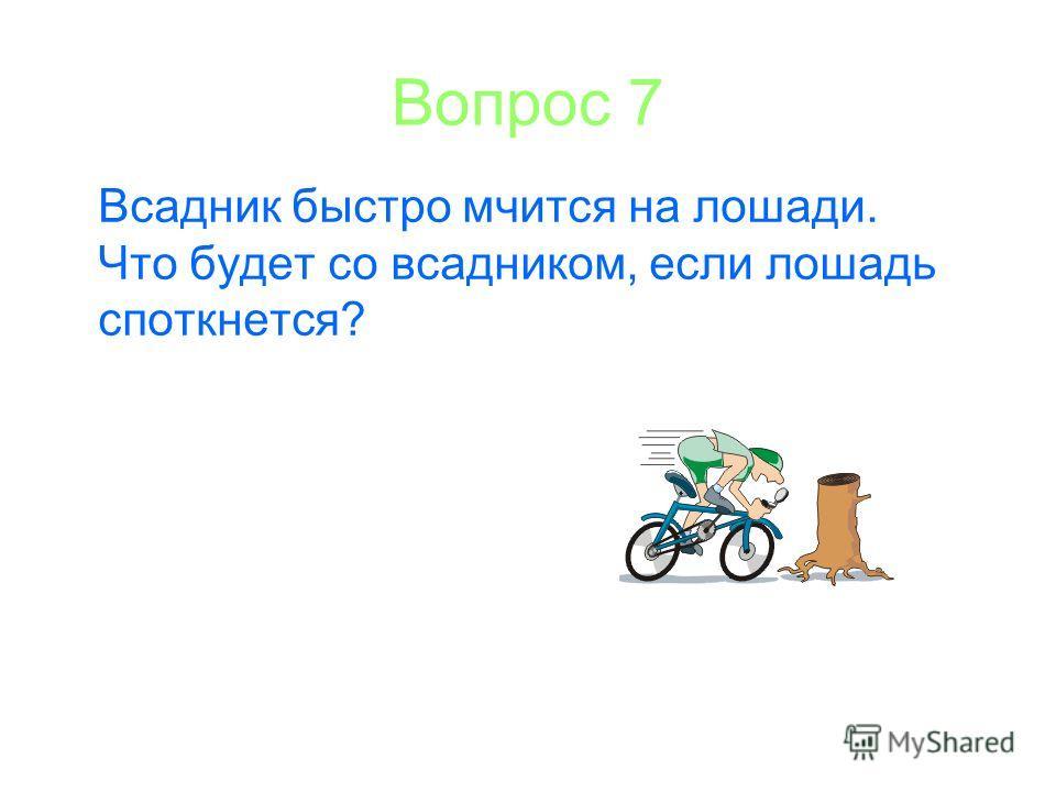 Вопрос 7 Всадник быстро мчится на лошади. Что будет со всадником, если лошадь споткнется?
