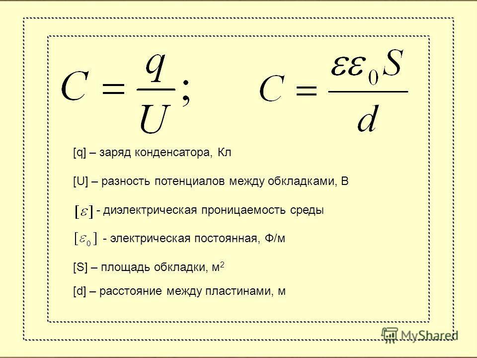 [q] – заряд конденсатора, Кл [U] – разность потенциалов между обкладками, В - диэлектрическая проницаемость среды - электрическая постоянная, Ф/м [S] – площадь обкладки, м 2 [d] – расстояние между пластинами, м