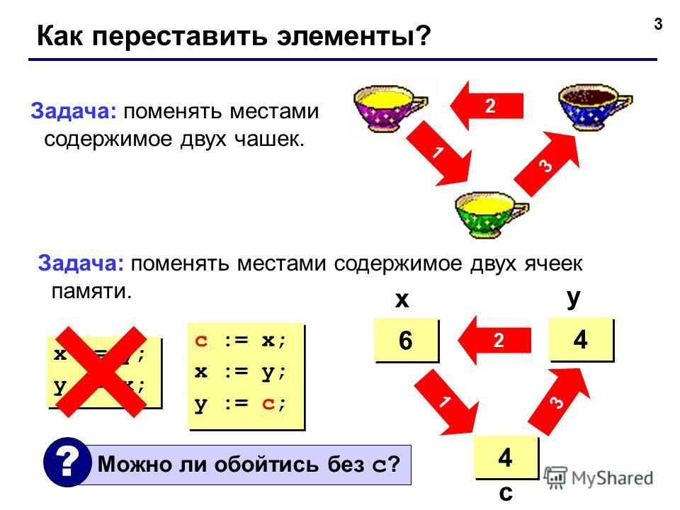 3 Как переставить элементы? 2 3 1 Задача: поменять местами содержимое двух чашек. Задача: поменять местами содержимое двух ячеек памяти. 4 4 6 6 ? ? 4 4 6 6 4 4 x y c c := x; x := y; y := c; c := x; x := y; y := c; x := y; y := x; x := y; y := x; 3 2