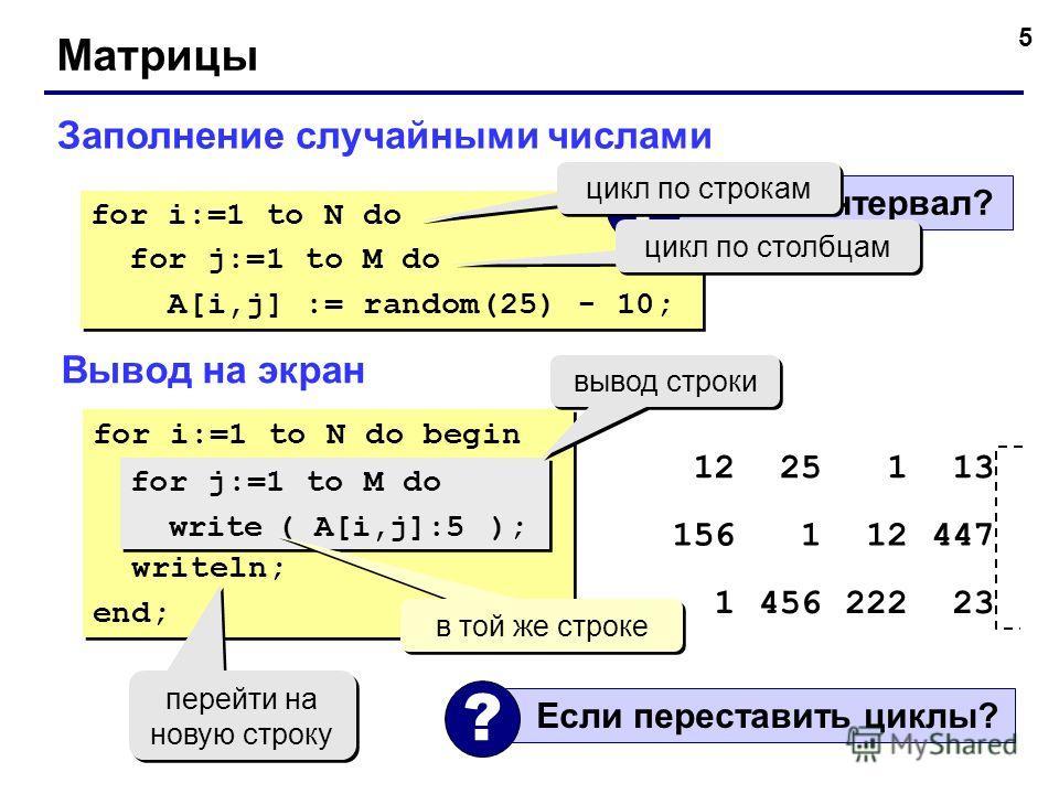 5 Матрицы Заполнение случайными числами for i:=1 to N do for j:=1 to M do A[i,j] := random(25) - 10; for i:=1 to N do for j:=1 to M do A[i,j] := random(25) - 10; Какой интервал? ? цикл по строкам цикл по столбцам Вывод на экран for i:=1 to N do begin