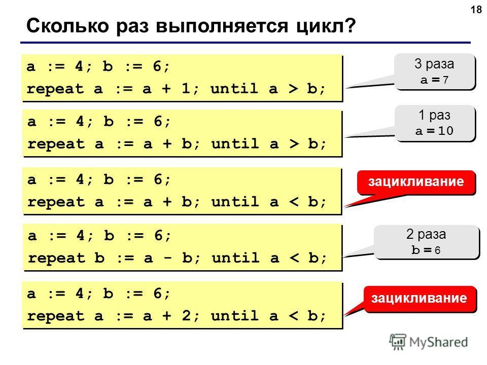 18 Сколько раз выполняется цикл? a := 4; b := 6; repeat a := a + 1; until a > b; a := 4; b := 6; repeat a := a + 1; until a > b; 3 раза a = 7 3 раза a = 7 a := 4; b := 6; repeat a := a + b; until a > b; a := 4; b := 6; repeat a := a + b; until a > b;