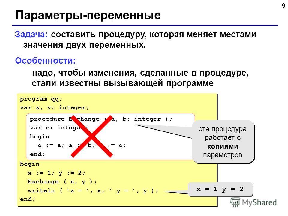 9 Параметры-переменные Задача: составить процедуру, которая меняет местами значения двух переменных. Особенности: надо, чтобы изменения, сделанные в процедуре, стали известны вызывающей программе program qq; var x, y: integer; begin x := 1; y := 2; E