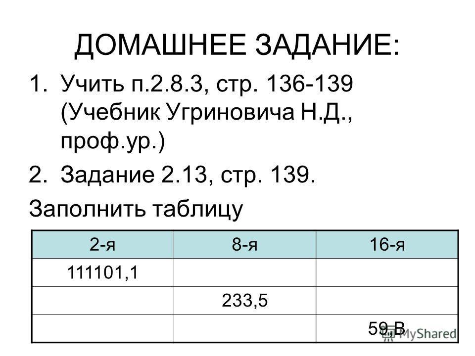 ДОМАШНЕЕ ЗАДАНИЕ: 1.Учить п.2.8.3, стр. 136-139 (Учебник Угриновича Н.Д., проф.ур.) 2.Задание 2.13, стр. 139. Заполнить таблицу 2-я8-я16-я 111101,1 233,5 59,В