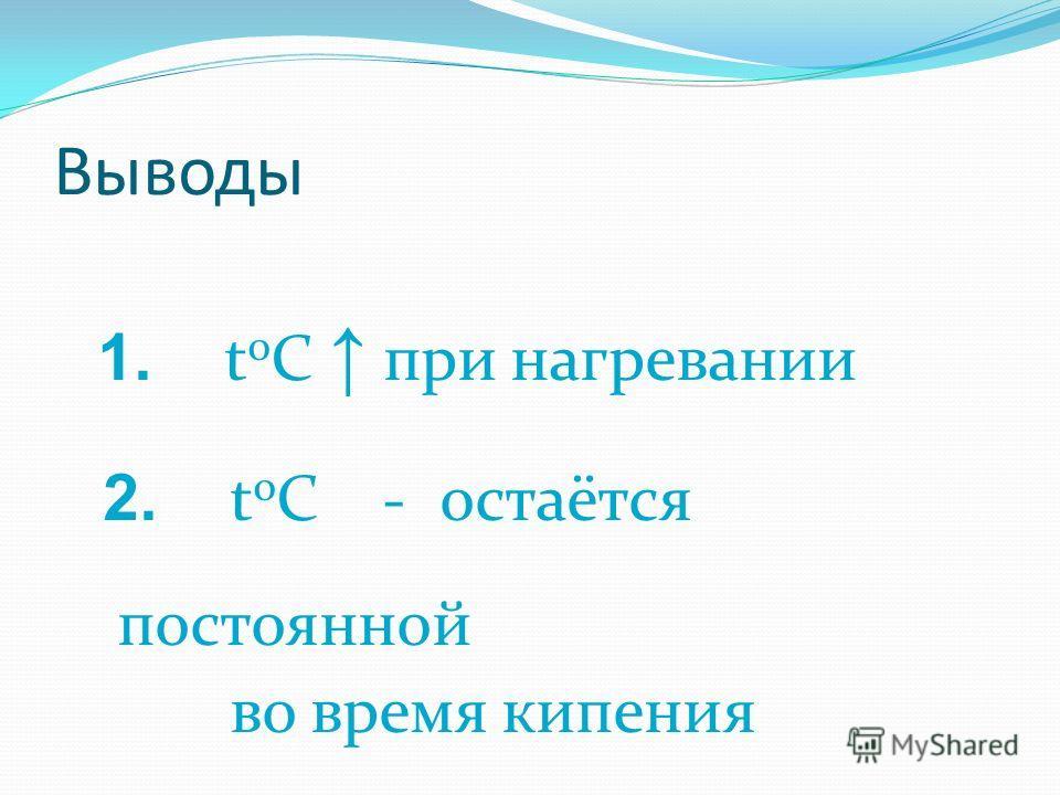 Выводы 1. t 0 С при нагревании 2. t 0 C - остаётся постоянной во время кипения