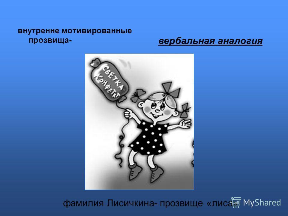 внутренне мотивированные прозвища- вербальная аналогия фамилия Лисичкина- прозвище «лиса»