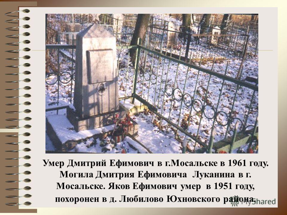 Умер Дмитрий Ефимович в г.Мосальске в 1961 году. Могила Дмитрия Ефимовича Луканина в г. Мосальске. Яков Ефимович умер в 1951 году, похоронен в д. Любилово Юхновского района.