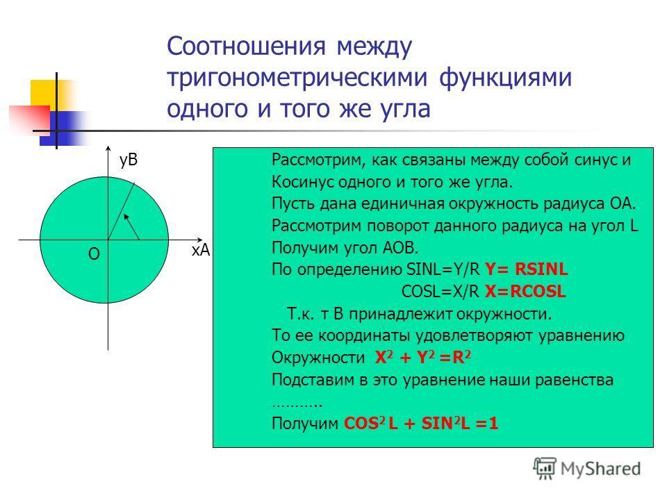 Соотношения между тригонометрическими функциями одного и того же угла Рассмотрим, как связаны между собой синус и Косинус одного и того же угла. Пусть дана единичная окружность радиуса ОА. Рассмотрим поворот данного радиуса на угол L Получим угол АОВ