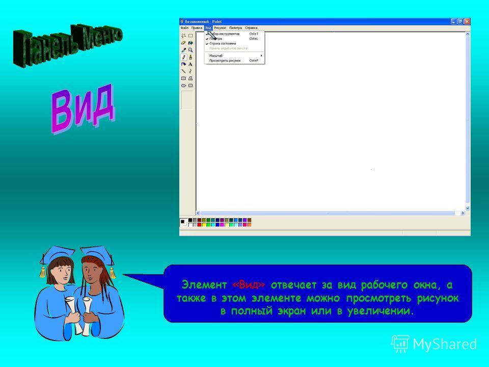 Рассмотрим панель Меню. Третий из ее элементов – «Вид» Элемент «Вид» отвечает за вид рабочего окна, а также в этом элементе можно просмотреть рисунок в полный экран или в увеличении.