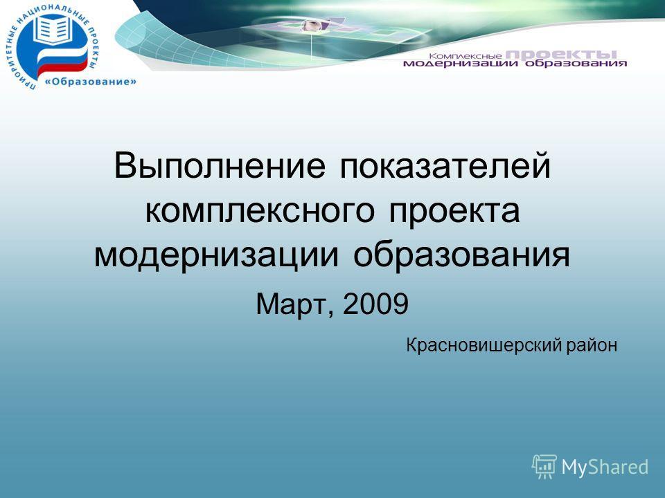 Выполнение показателей комплексного проекта модернизации образования Март, 2009 Красновишерский район