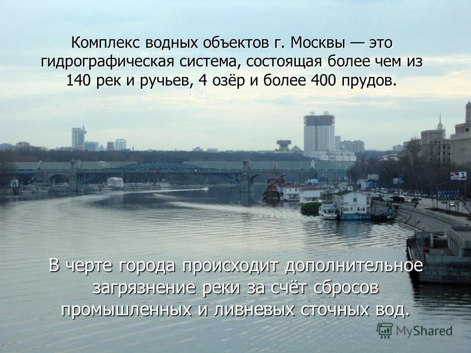 Комплекс водных объектов г. Москвы это гидрографическая система, состоящая более чем из 140 рек и ручьев, 4 озёр и более 400 прудов. В черте города происходит дополнительное загрязнение реки за счёт сбросов промышленных и ливневых сточных вод.