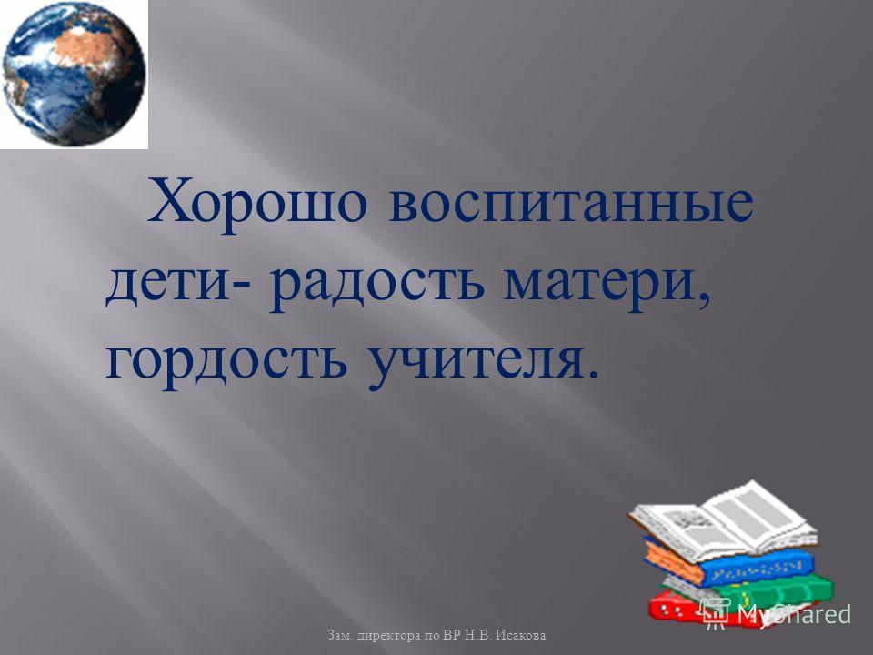 Зам. директора по ВР Н. В. Исакова Хорошо воспитанные дети - радость матери, гордость учителя.