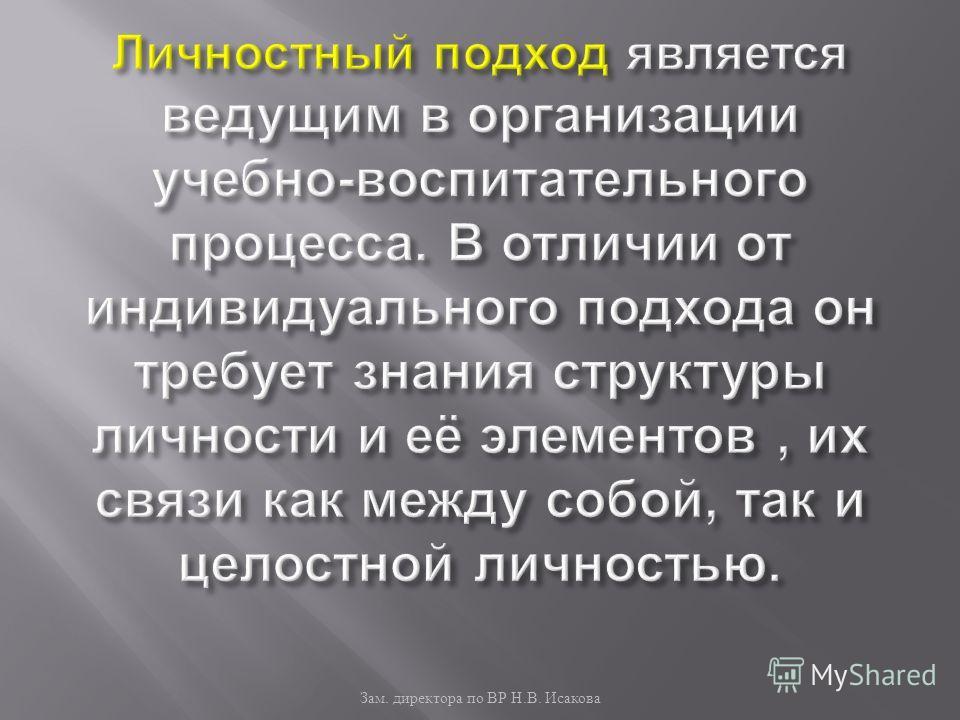 Зам. директора по ВР Н. В. Исакова