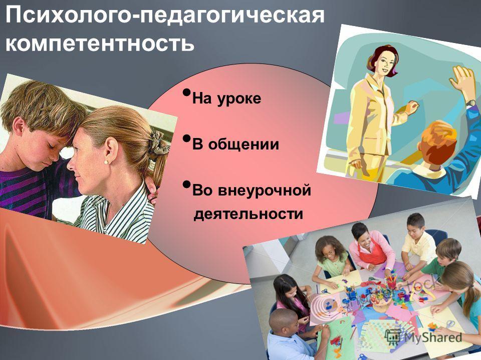 Психолого-педагогическая компетентность На уроке В общении Во внеурочной деятельности