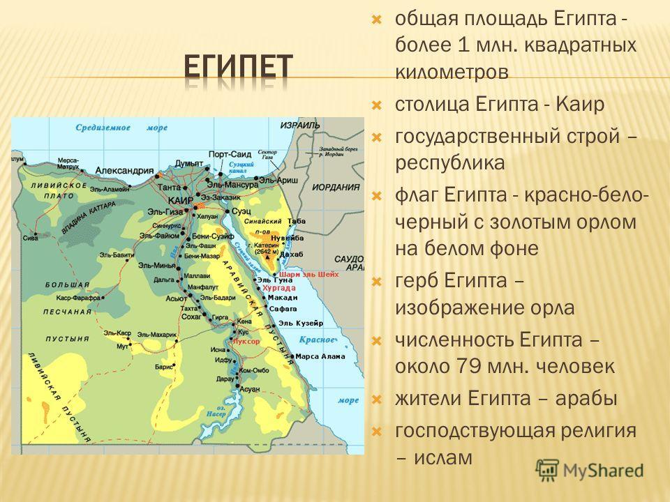 Название Египта происходит от древнеегипетского слова «Хэ-ку-Птах», которое через древнегреческое «Хикупта» и «Айгюптос», одного из имен знаменитого Мемфиса, превратилось в «Египет». Древние Египтяне также называли свою страну «Кеме», т.е. «Черная»,