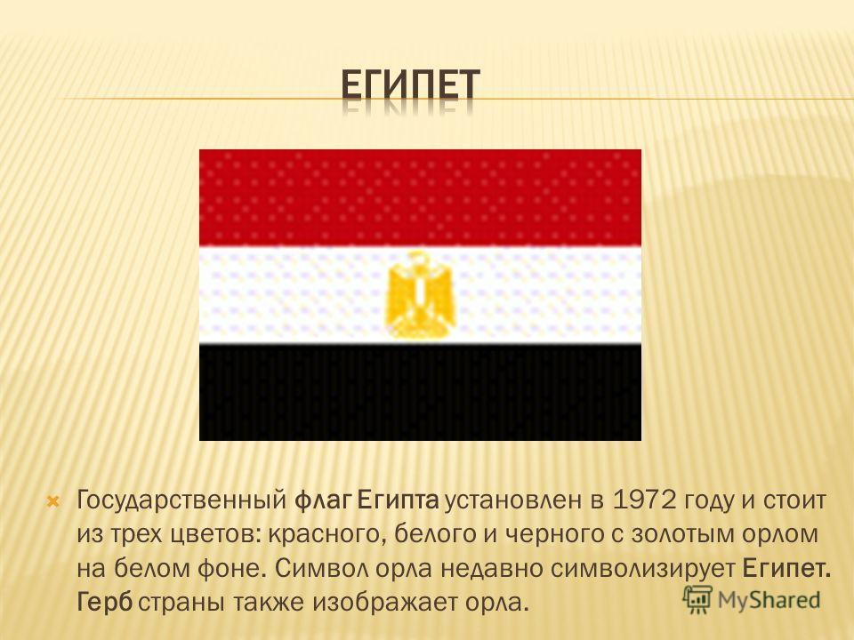 общая площадь Египта - более 1 млн. квадратных километров столица Египта - Каир государственный строй – республика флаг Египта - красно-бело- черный с золотым орлом на белом фоне герб Египта – изображение орла численность Египта – около 79 млн. челов