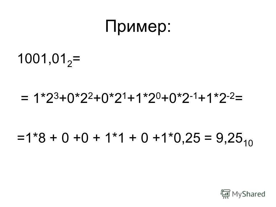 Пример: 1001,01 2 = = 1*2 3 +0*2 2 +0*2 1 +1*2 0 +0*2 -1 +1*2 -2 = =1*8 + 0 +0 + 1*1 + 0 +1*0,25 = 9,25 10