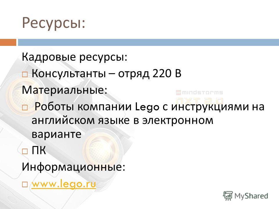 Ресурсы : Кадровые ресурсы : Консультанты – отряд 220 В Материальные : Роботы компании Lego с инструкциями на английском языке в электронном варианте ПК Информационные : www.lego.ru www.lego.ru