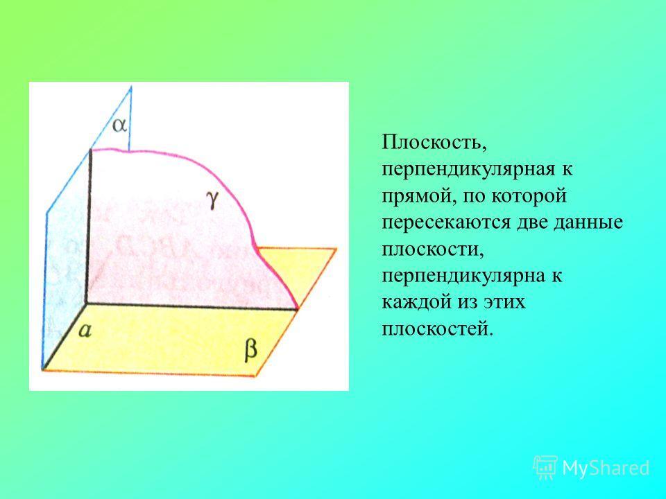 Плоскость, перпендикулярная к прямой, по которой пересекаются две данные плоскости, перпендикулярна к каждой из этих плоскостей.