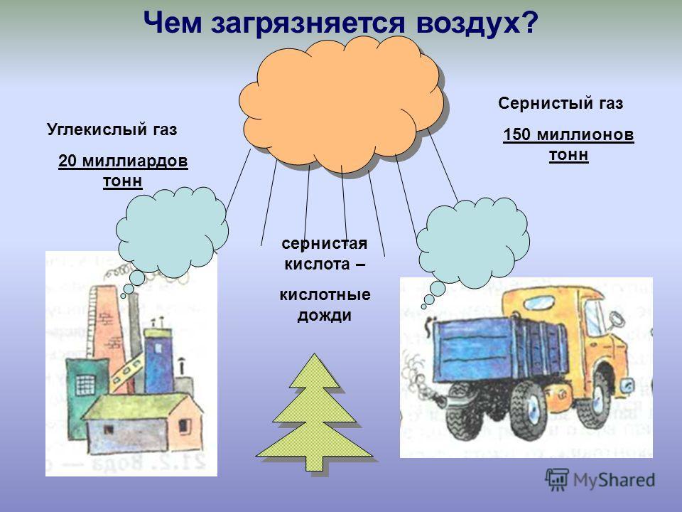 Углекислый газ 20 миллиардов тонн Сернистый газ 150 миллионов тонн сернистая кислота – кислотные дожди Чем загрязняется воздух?