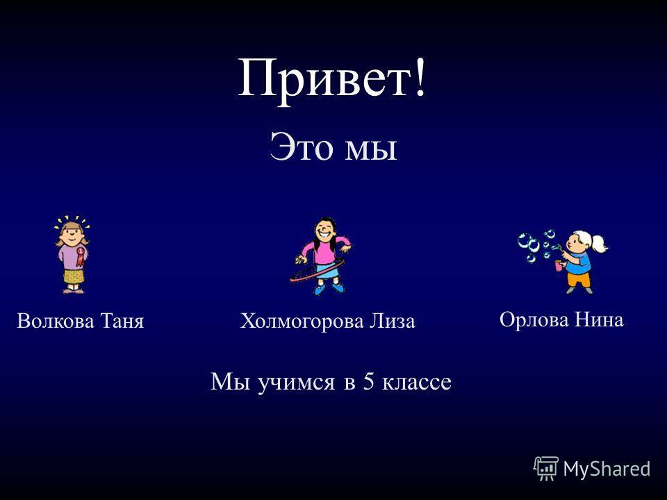 Привет! Это мы Волкова ТаняХолмогорова Лиза Орлова Нина Мы учимся в 5 классе
