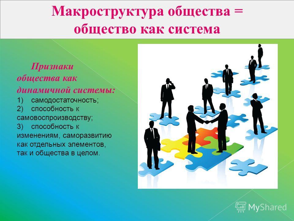 Макроструктура общества = общество как система Признаки общества как динамичной системы: 1)самодостаточность; 2)способность к самовоспроизводству; 3)способность к изменениям, саморазвитию как отдельных элементов, так и общества в целом.