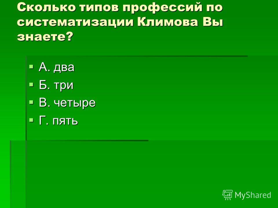 Сколько типов профессий по систематизации Климова Вы знаете? А. два А. два Б. три Б. три В. четыре В. четыре Г. пять Г. пять