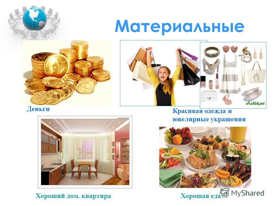 Материальные Деньги Красивая одежда и ювелирные украшения Хороший дом. квартираХорошая еда