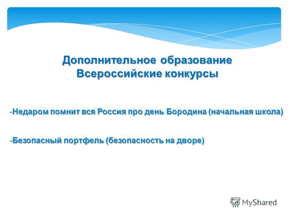 Всероссийские конкурсы -Недаром помнит вся Россия про день Бородина (начальная школа) -Безопасный портфель (безопасность на дворе)
