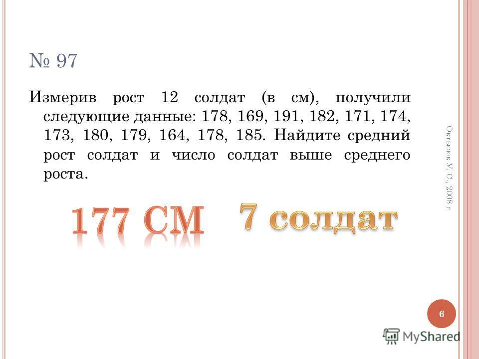 94 ( Б ) Н АЙДИТЕ СРЕДНЕЕ АРИФМЕТИЧЕСКОЕ РЯДА : 1,6; 4,9; 12,4; 3,1. 95 (б) Найдите моду ряда: 39; 54; 33; 36; 20; 29; 35; 50; 21. 96 (б, г) Найдите размах ряда: 5; 17; 0; 26; 14. 7,2; -0,6; -4,5; 6,3; 1,1. 5 Октысюк У. С., 2008 г
