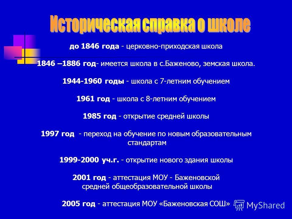 до 1846 года - церковно-приходская школа 1846 –1886 год- имеется школа в с.Баженово, земская школа. 1944-1960 годы - школа с 7-летним обучением 1961 год - школа с 8-летним обучением 1985 год - открытие средней школы 1997 год - переход на обучение по
