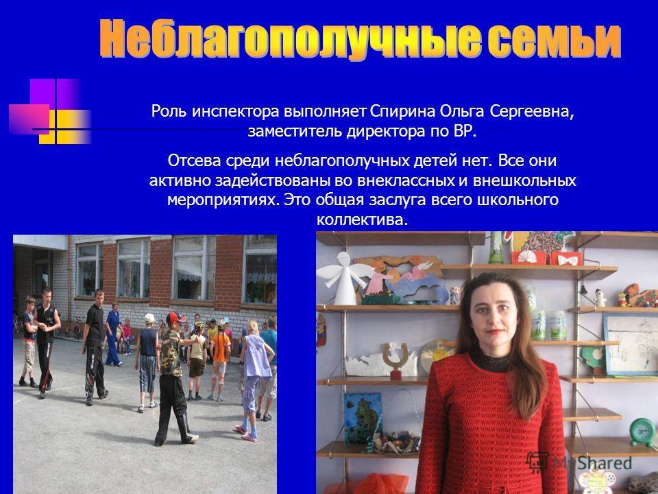 Роль инспектора выполняет Спирина Ольга Сергеевна, заместитель директора по ВР. Отсева среди неблагополучных детей нет. Все они активно задействованы во внеклассных и внешкольных мероприятиях. Это общая заслуга всего школьного коллектива.