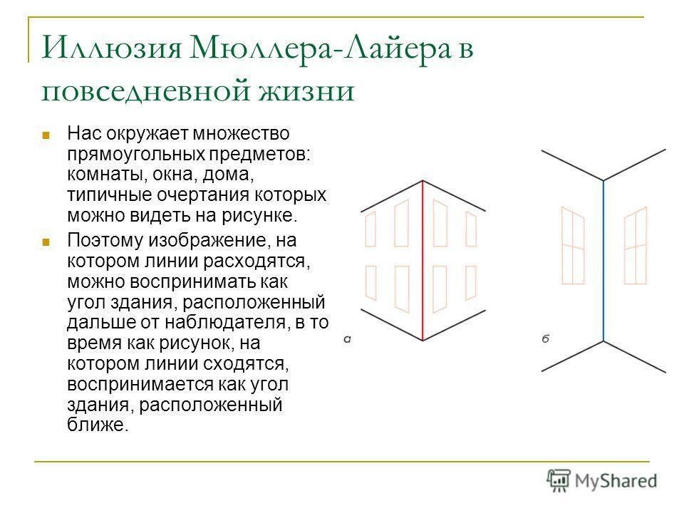 Иллюзия Мюллера-Лайера в повседневной жизни Нас окружает множество прямоугольных предметов: комнаты, окна, дома, типичные очертания которых можно видеть на рисунке. Поэтому изображение, на котором линии расходятся, можно воспринимать как угол здания,