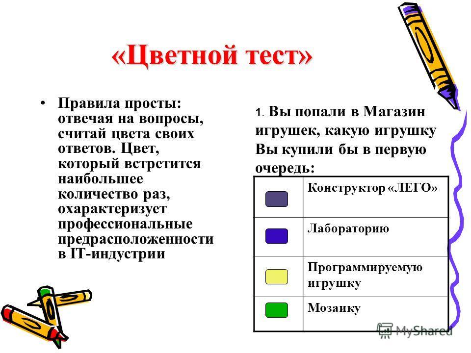 «Цветной тест» Правила просты: отвечая на вопросы, считай цвета своих ответов. Цвет, который встретится наибольшее количество раз, охарактеризует профессиональные предрасположенности в IT-индустрии Конструктор «ЛЕГО» Лабораторию Программируемую игруш