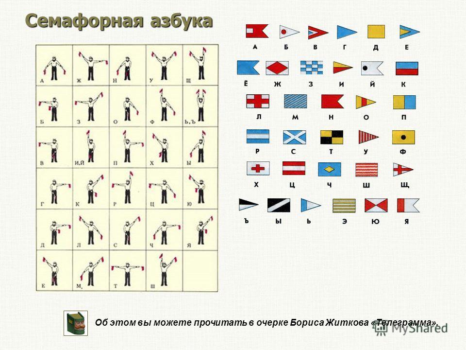 Семафорная азбука Об этом вы можете прочитать в очерке Бориса Житкова «Телеграмма».