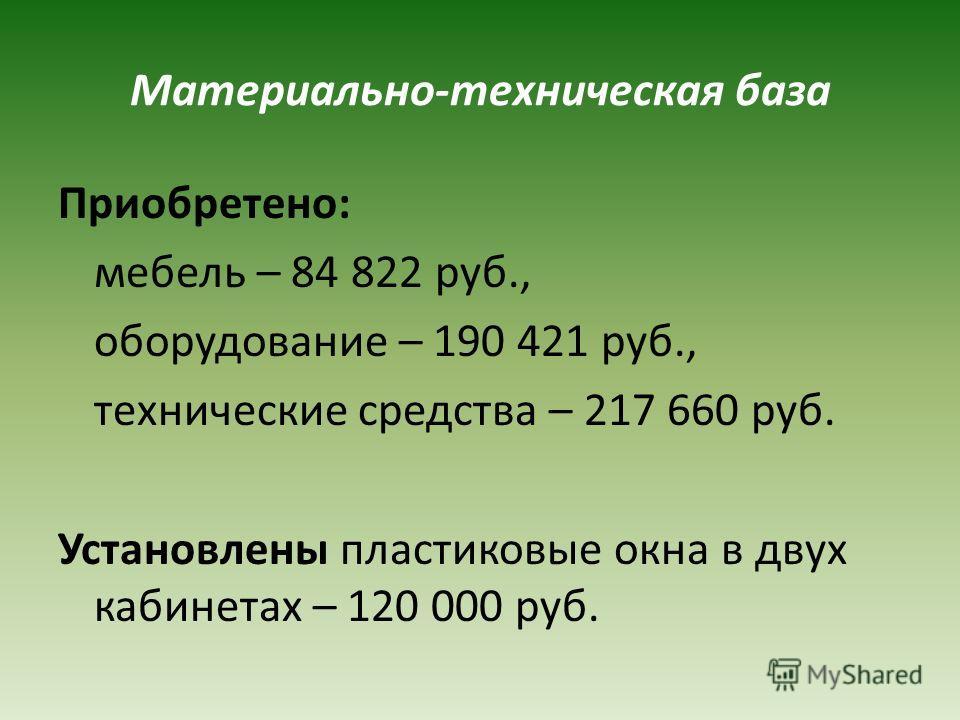 Материально-техническая база Приобретено: мебель – 84 822 руб., оборудование – 190 421 руб., технические средства – 217 660 руб. Установлены пластиковые окна в двух кабинетах – 120 000 руб.