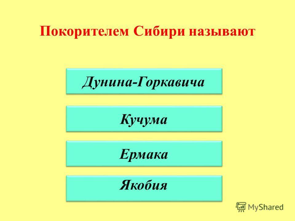 Покорителем Сибири называют Дунина-Горкавича Кучума Ермака Якобия
