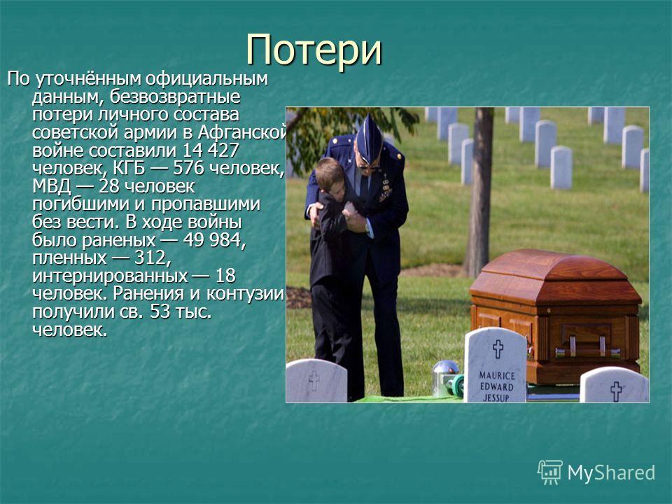 Потери По уточнённым официальным данным, безвозвратные потери личного состава советской армии в Афганской войне составили 14 427 человек, КГБ 576 человек, МВД 28 человек погибшими и пропавшими без вести. В ходе войны было раненых 49 984, пленных 312,