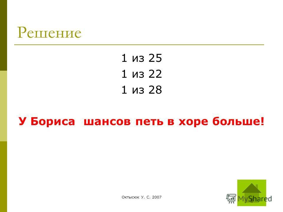 Октысюк У. С. 200727 Решение 1 из 25 1 из 22 1 из 28 У Бориса шансов петь в хоре больше!