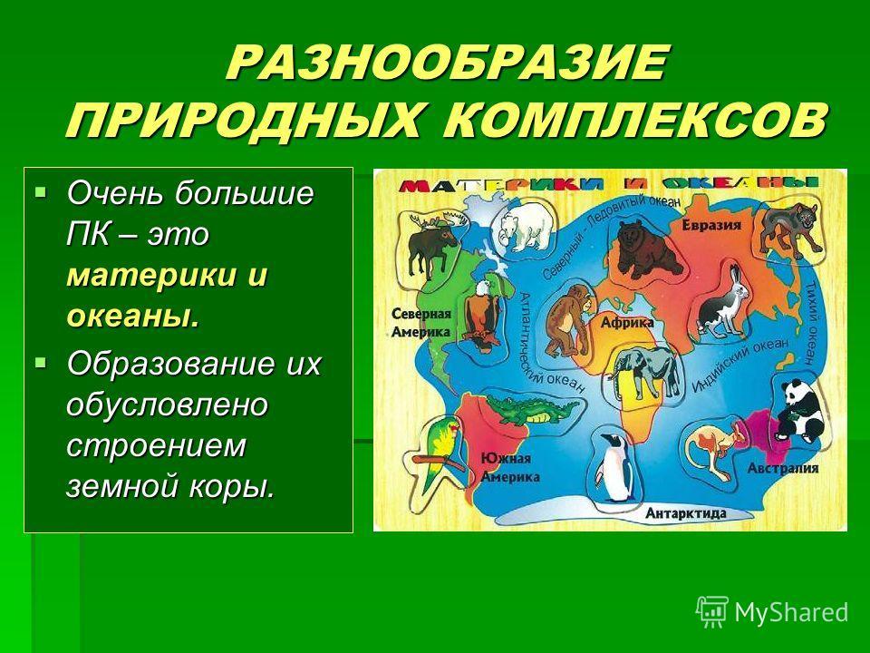 РАЗНООБРАЗИЕ ПРИРОДНЫХ КОМПЛЕКСОВ Очень большие ПК – это материки и океаны. Очень большие ПК – это материки и океаны. Образование их обусловлено строением земной коры. Образование их обусловлено строением земной коры.