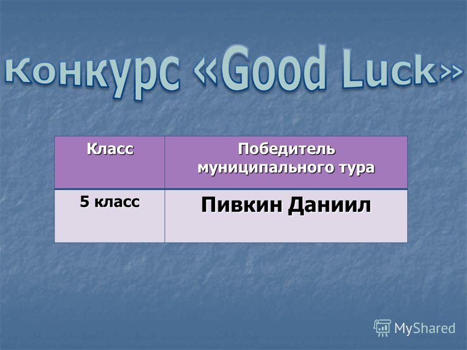Класс Победитель муниципального тура 5 класс Пивкин Даниил