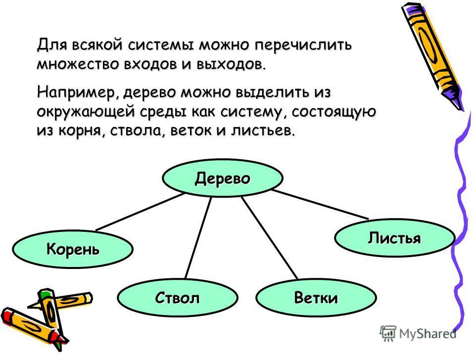 Для всякой системы можно перечислить множество входов и выходов. Например, дерево можно выделить из окружающей среды как систему, состоящую из корня, ствола, веток и листьев. Дерево Корень СтволВетки Листья