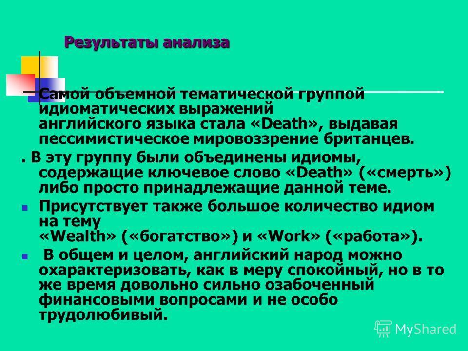 Результаты анализа Самой объемной тематической группой идиоматических выражений английского языка стала «Death», выдавая пессимистическое мировоззрение британцев.. В эту группу были объединены идиомы, содержащие ключевое слово «Death» («смерть») либо