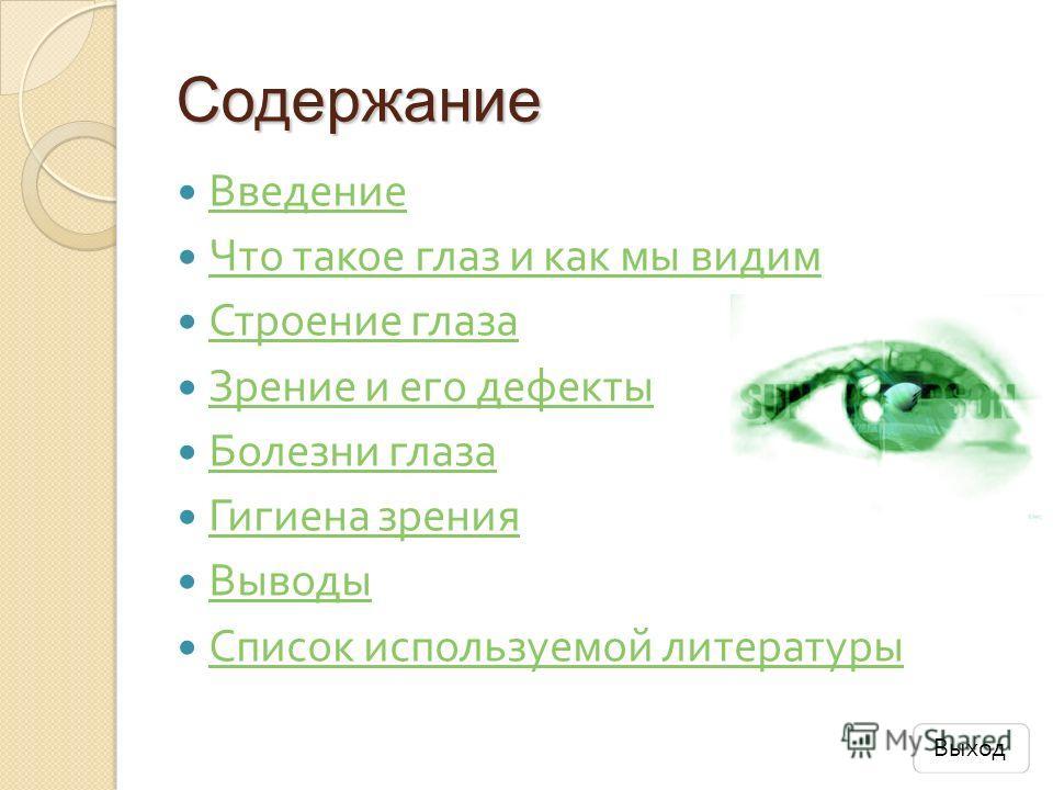 Содержание Введение Что такое глаз и как мы видим Что такое глаз и как мы видим Строение глаза Строение глаза Зрение и его дефекты Зрение и его дефекты Болезни глаза Болезни глаза Гигиена зрения Гигиена зрения Выводы Список используемой литературы Сп